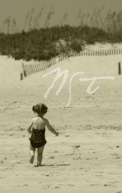 Ella Chasing Sandpiper B&W NST