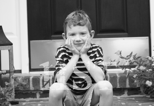 Henry First Day of Kindergarten B&W NST